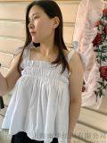 純棉綁帶繡花吊帶衫 A型可愛蓬蓬款
