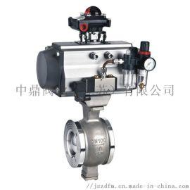 中鼎VQ647F气动V型控制球阀DN80