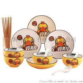 孟垣 小黄鸭黄釉16件套网红卡通餐具套装 XHY