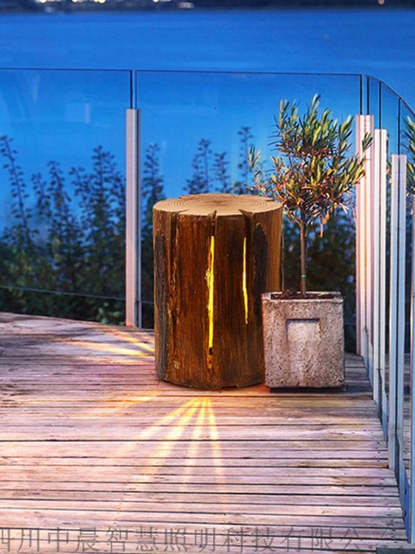 四川中晨 太阳能树桩草坪灯 现代新中式