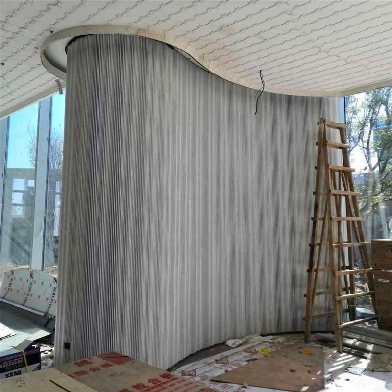 铝长城板背景墙布局 木纹铝合金长城板设计方法