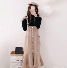背带裙套装女春秋两件套学生半高领针织打底衫毛衣毛呢鱼尾连衣裙