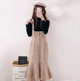 背帶裙套裝女春秋兩件套學生半高領針織打底衫毛衣毛呢魚尾連衣裙