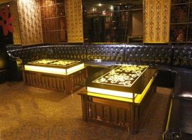 KTV茶几发光不锈钢吧台钢化玻璃桌厂家定制简约款式