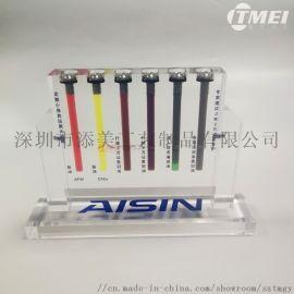按需订制亚克力展示道具润滑油质量对比展板机油对比器