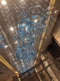 酒店定制灯具 三色扭纹玻璃吊灯