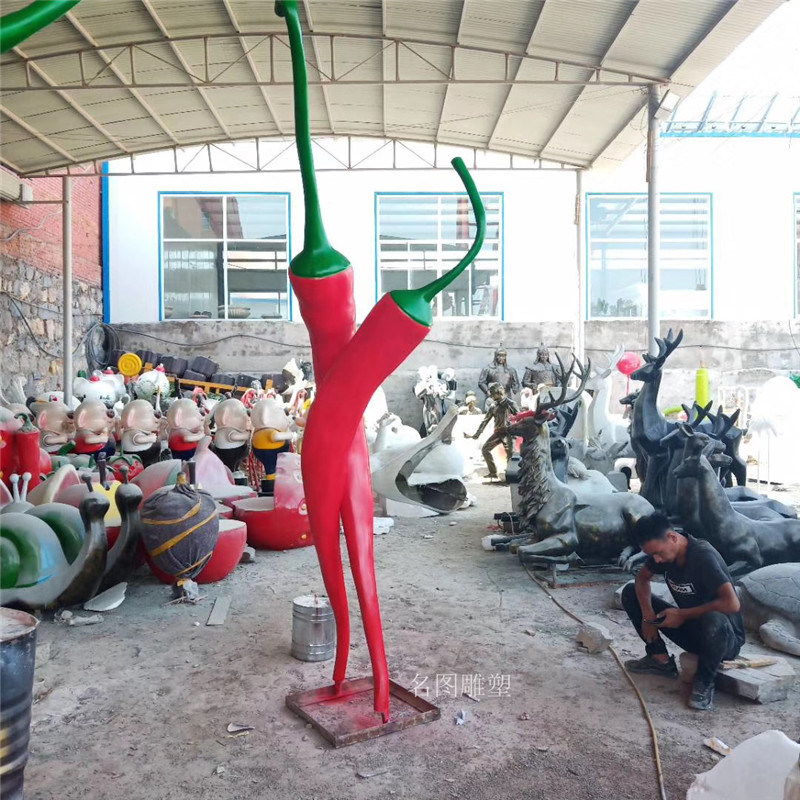 江门玻璃钢造型雕塑 广场红辣椒雕塑模型摆件