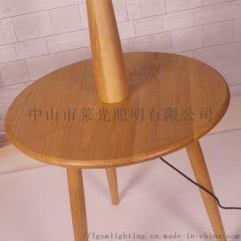 茶几落地灯置物架创意个性实木北欧木艺灯