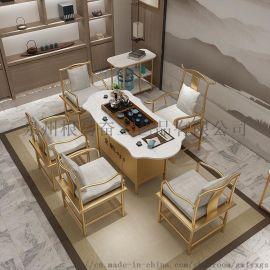大理石茶桌椅组合简约现代茶艺桌功夫茶几办公室茶台