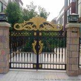 天津静海区小区围墙铁艺护栏黑纱纹镂空庭院大门