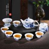 简易整套青花盖碗家用白瓷茶杯茶壶 功夫茶具套装