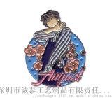 韓版人像卡通徽章,深圳烤漆胸章,男生通用金屬胸章