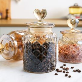 彩色玻璃密封罐爱心玻璃瓶家用杂粮储物罐泡菜坛