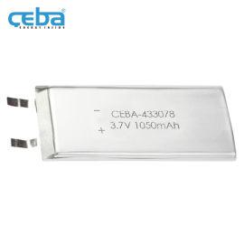 1050mAh安防设备LP433078锂聚合物电池