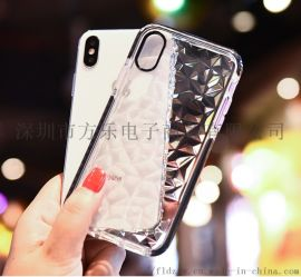 手机保护套, 手机透明保护套,双色菱形透明软壳