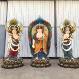 定做西方三圣佛像厂家,昌东玻璃钢木雕佛像制作厂家