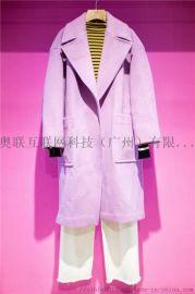双面羊绒大衣折扣女装粉色中长款修身双面呢外套