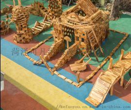 户外大型碳化实心积木幼儿园炭烧游戏积木