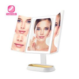 三折LED智能化妆镜  方形折叠化妆镜 放大镜子