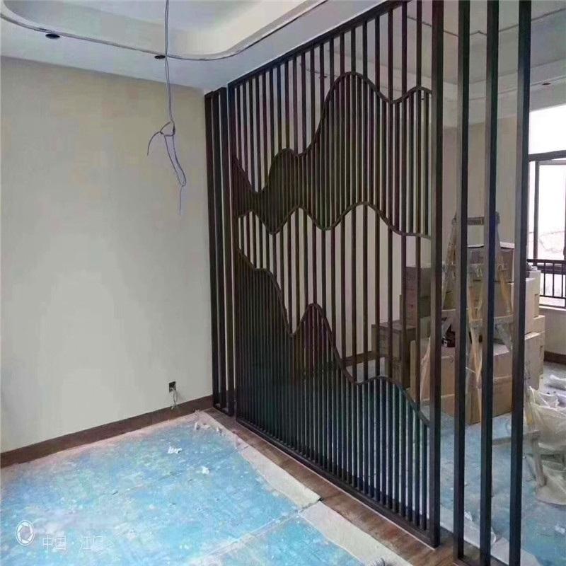 休闲会所木纹铝屏风格栅 餐厅铝格栅屏风定制
