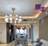 客廳天花吊頂燈帶不鏽鋼弧形線條
