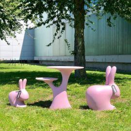客厅创意卡通玻璃钢小兔子椅子户外儿童凳子休闲椅