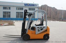 湖南四轮座驾式电动叉车 一吨半堆高搬运铲车
