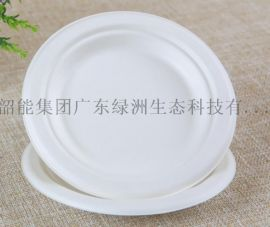 一次性可降解纸浆餐具圆盘6寸圆盘