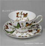 廠家直銷 骨質瓷咖啡杯碟 蝴蝶畫面定製 骨瓷杯 可定製畫面