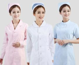 訂做全棉護士美容服上下圓西服領偏襟小立領娃娃領大褂外套加LOGO