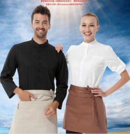 生产定做酒店装秋冬装西餐厅咖啡厅服务员工作服领班制服