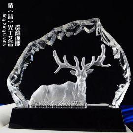 群雄逐鹿水晶奖牌 商务赠礼企业年度表彰纪念奖牌