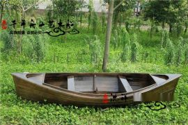 公園裝飾船現貨廠家供應 定做園藝船 景觀木船 歐式兩頭尖