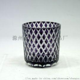 喷色刻花玻璃烛台,手工雕刻玻璃烛杯