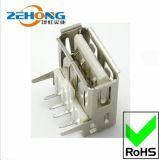 【金牌品质】2.0USB插座A型90度插板直脚卷口USB母座连接器