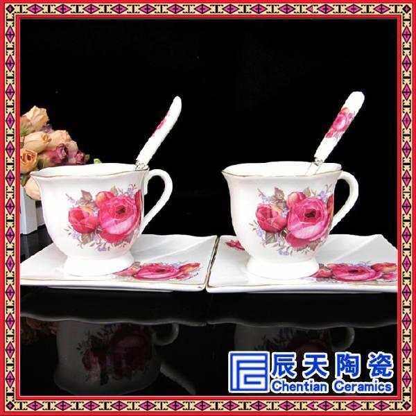 景德镇青花牡丹花咖啡具定做生产 工艺定制陶瓷咖啡具厂家