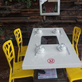 新款  白色大理石餐桌/6人位电磁炉火锅桌直销