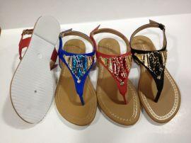 新款时尚平底夹脚女凉鞋JX001