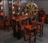 老船木實木傢俱簡約酒吧吧檯紅酒吧檯桌椅組閤家用會所酒桌