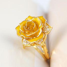 黛雅镀金玫瑰花戒指女欧美时尚气质饰品女友情人节礼物 (黄色戒指)