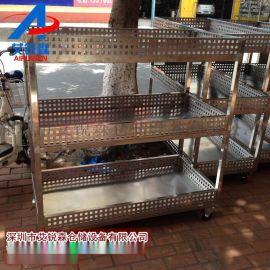 艾锐森不锈钢周转物料车-三层物料周转车-钢制三层手推车