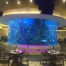 南京鱼缸厂家定制大型亚克力水族箱 圆柱形鱼缸