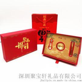 金箔礼品 聚福三宝金碗筷勺摆件 保险会销开门红礼品