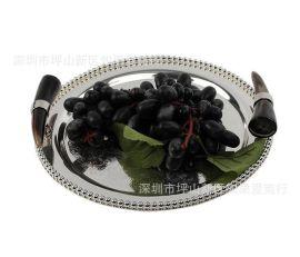 欧式北欧式银色牛角圆形金属果盘蛋糕盘水果盘托盘样板间软装摆件