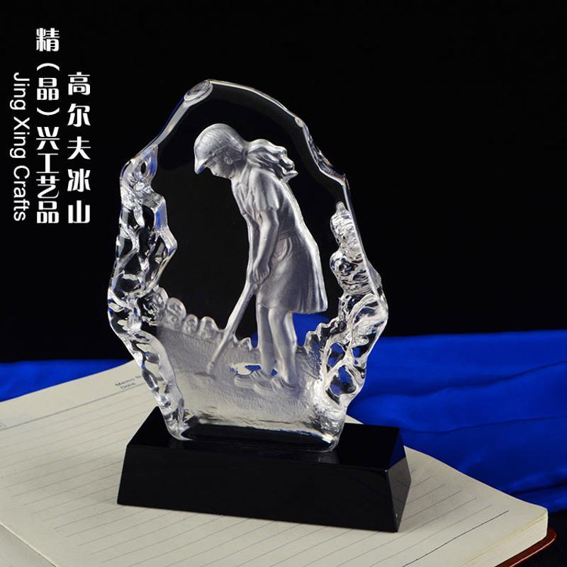 深圳光明高尔夫球球会奖杯/高尔夫球距离水晶奖杯