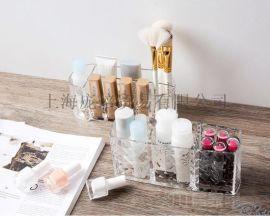亚克力钻石纹口红收纳盒 桌面塑料化妆刷盒化妆盒