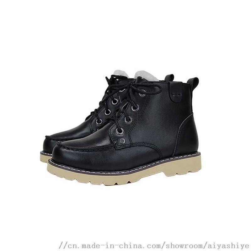 伊丰鞋业品牌2018冬季新款羊毛里儿童鞋马丁靴