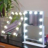 方形LED燈泡鏡大號臺式帶燈泡化妝鏡調光變色梳妝鏡