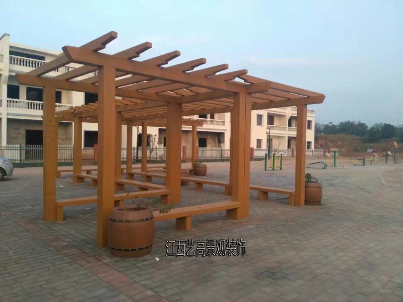 水泥仿木长廊厂家 公园仿木花架 葡萄架 防腐木花架