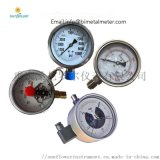 Y-100 水泵双刻度普通铁壳不锈钢壳螺纹压力表